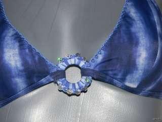 GOTTEX boy shorts bikini swimsuit tie dyed crochet blue 8 retro