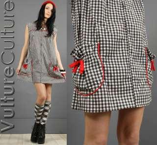 Gingham POUF HORSESHOE POCKETS Mod DOLLY Scooter Mini Dress SML