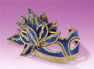 MARDI GRAS BLUE GOLD VENETIAN HALF MASK COSTUME DRESS MASQUERADE PARTY
