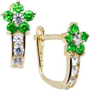 14K Yellow Gold Emerald Green Cubic Zirconia Flower Earrings Jewelry