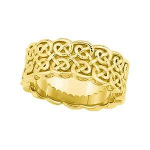 Size 7   14K Yellow Gold Celtic Wedding Band Ring 8mm Jewelry