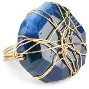 Blue Green Brazilian Agate Gold Wire Wrapped Ring, Size 6 Jewelry