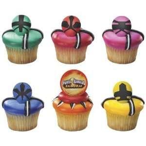 12 ct   Power Rangers Samurai Force Cupcake Rings  Toys & Games