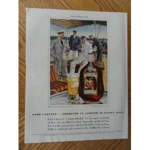 Lord Calvert Whiskey, Vintage Illustrated art. 30s full page print ad