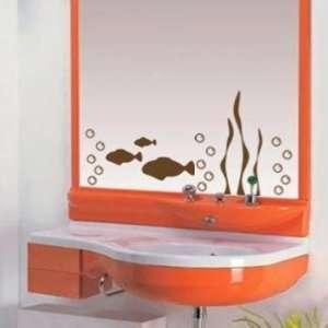 Brown Aquarium Fish Mirror or Wall Decal