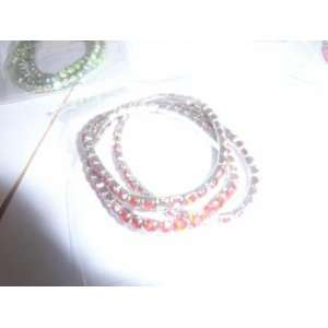 Three Rhinestone Red/white Gold Plated Bracelets