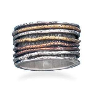Sterling Silver Ring With Tri Tone Bands   RingSize 6 Jewelry
