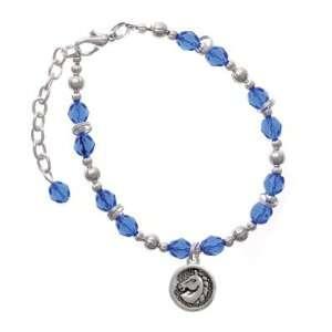 Head in Disc Blue Czech Glass Beaded Charm Bracelet [Jewelry] Jewelry