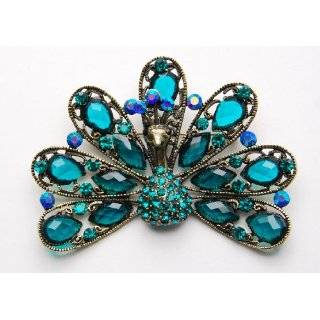 Crystal Rhinestone Antique Inspire Peacock Bird Tail Custom Pin Brooch