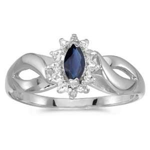 Gold September Birthstone Marquise Sapphire And Diamond Ring Jewelry