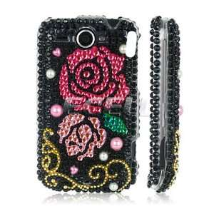 Ecell   PINK ROSES 3D CRYSTAL BLING CASE FOR HTC WILDFIRE Electronics