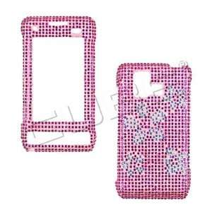 Flowers Bling Crystal Diamond Stone Pink Protective Cover Case
