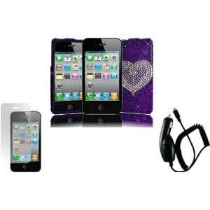 Purple Heart Full Diamond Bling Case Cover+LCD Screen