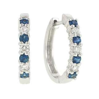 Diamond(.26ct) and Blue Sapphire(.45ct) Hoop Earrings Jewelry
