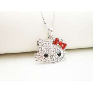 SILVER CRYSTAL HELLO KITTY RED BOW NECKLACE Arts, Crafts & Sewing