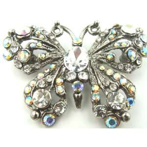 Crystals Set in Antique Silver Finish Butterfly Brooch Pin Gift Boxed