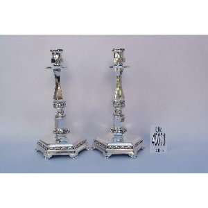 Silver Candle Holder Pair of Candlesticks Candleholder Home & Kitchen