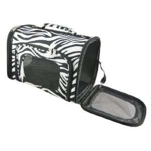 Zebra Stripe Pet Carrier Cat Dog 20 Lbs Black Trim Pet