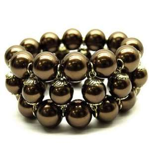 Taupe Brown Chunky Faux Pearl Beaded Stretch Bracelet Jewelry