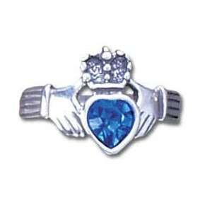 Sterling Silver Blue Crystal Claddagh Ring Please specify size 6