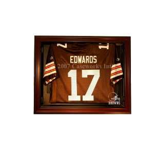 Cleveland Browns Removable Face Jersey Display   Mahogany
