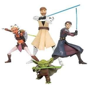 Star Wars Clone Wars Series 1 Jedi Statue Set Toys & Games