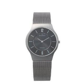 Skagen Mens 233LSSB Black Face Mesh Bracelet Watch