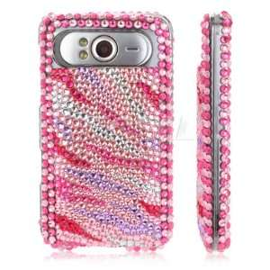NEW PINK STRIPES CRYSTAL BLING CASE COVER FOR HTC HD7 Electronics