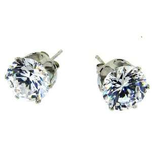 Silver plated 15mm square crystal earrings mens stud Jewelry