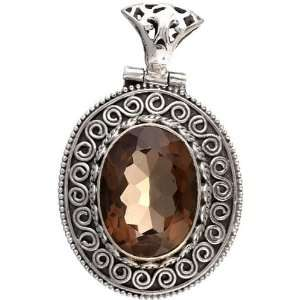 Faceted Smoky Quartz Oval Pendant   Sterling Silver