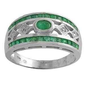 Emerald & 0.05 Ct Diamond 14 Karat White Gold Ring Size 7 Jewelry