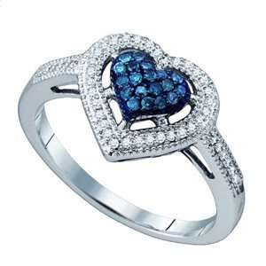Blue & White Diamond 10k White Gold Heart Ring SeaofDiamonds Jewelry