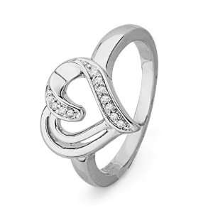Sterling Silver Round Diamond Heart Ring (1/20 cttw) D GOLD Jewelry