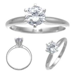 14K White Gold Diamond Solitaire Engagement Ring 0.50ct