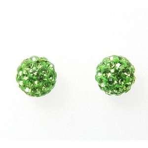 925 Silver Green Austrian Crystal Disco Ball Earrings Size 0 Jewelry