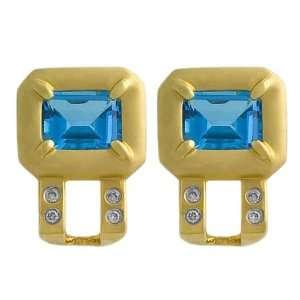 Blue Topaz & 0.20 Ct Diamond 14 Karat Yellow Gold Earrings Jewelry