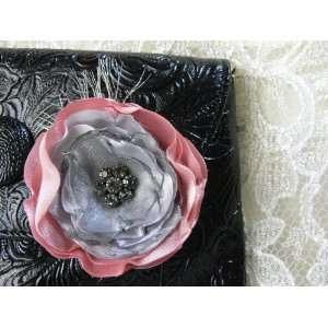 Romantic Rose Flower Hair Clip Brooch   Handmade, Unique