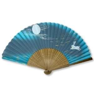 Rabbit Painted Bamboo Wood Oriental Silk Folding Fan