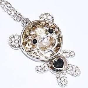 Crystal Glass Brown Bear Pendant Necklace 18k Gp