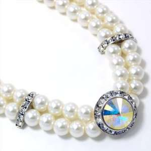 Clear Glass Faux Pearl and Swarovski Crystal Pendant Necklace Jewelry
