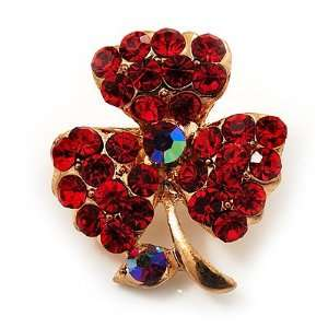 Tiny Red Crystal Clover Pin Brooch (Gold Tone) Jewelry