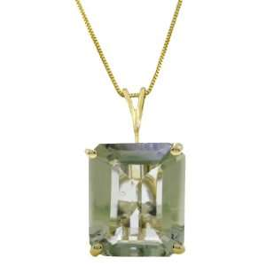 Gold Necklace with 6.5ct Natural emerald cut Green Amethyst Jewelry