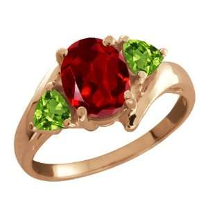 1.92 Ct Oval Red Garnet and Green Peridot 14k Rose Gold