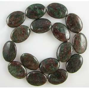 25mm red green garnet flat oval beads 16 strand S2