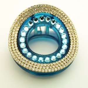 Glam Round Rhinestone & Crystal Turquoise Hair Claw Beauty