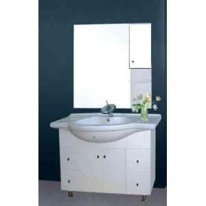Modern White Wood Bathroom Vanity Molded Porcelain Top Key