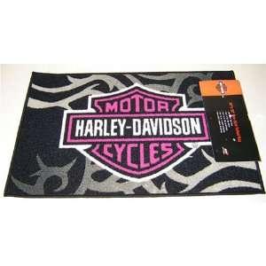 Pink Flame Licensed Harley Davidson Throw Rug Indoor