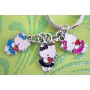 Colorful Metal Charm Keychain Set of 3 Hello Kitty