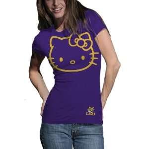 NCAA Louisiana State Tigers Hello Kitty Inverse Junior Crew Tee Shirt