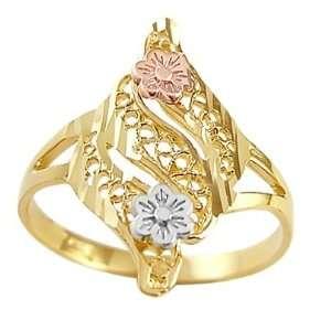 Fashion Designer Ring 14k Yellow Gold Band, Size 5 Jewel Roses